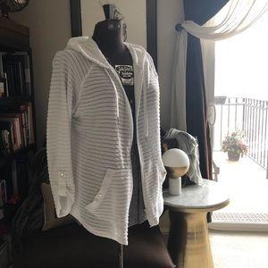 White zip hoodie XL